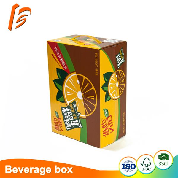Corrugated paper carton beverage storage box with full color print