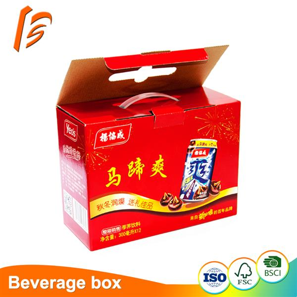 Full color printing beverage corrugated packaging carton with plastic handle