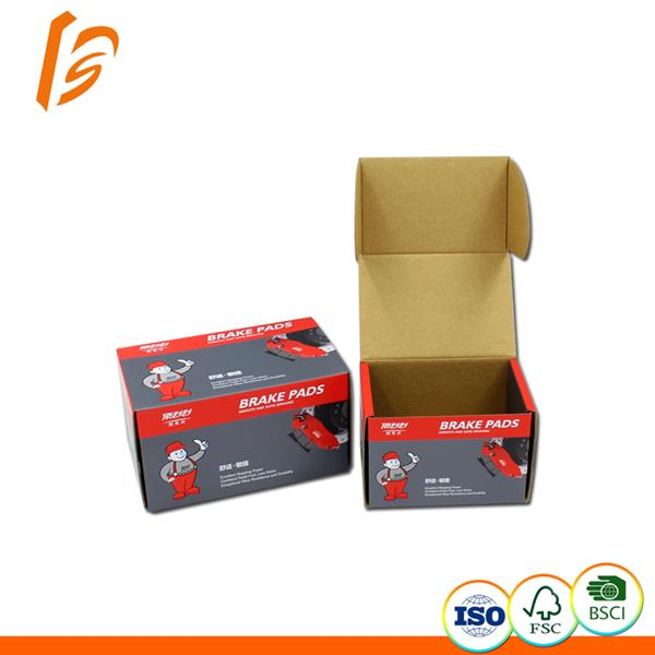Roll end tuck front brake pads corrugated cardboard box packaging