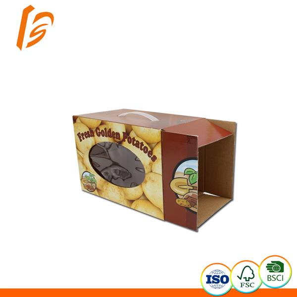 Corrugated paperboard vegetable packaging box with clear PVC window