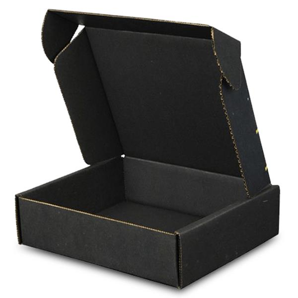 black mailer boxes with kraft corrugated paper packing material