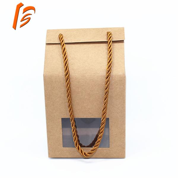 kraft paper candy box with rope handle