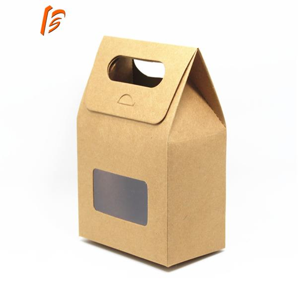 Customized kraft paper bag stand candy box holder with handle